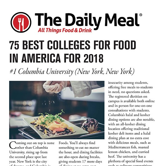 75 Best Colleges for Food in America