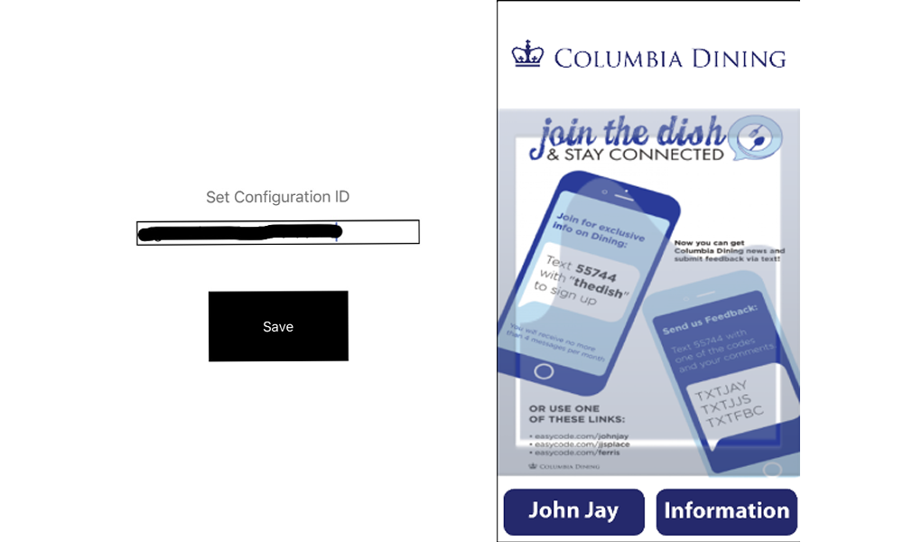 Screenshots show the Configuration ID field and the Columbia Dining app home screen